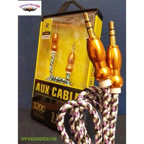 کابل AUX حرفه ای GOLD , لیست قیمت عمده لوازم گوشی , نمایندگی پخش لوازم گوشی موبایل