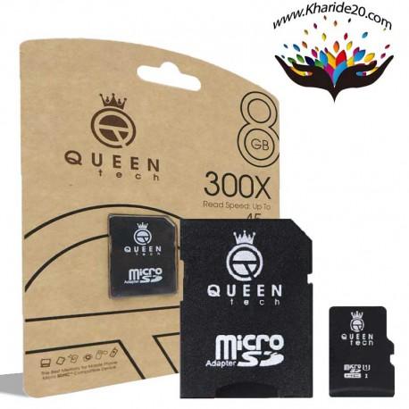 رم میکرو 45MBps 300X Queen Tech ظرفیت 8GB با خشاب